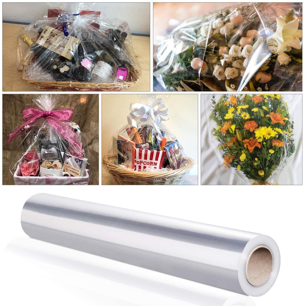 Clear Wrapping Roll, Thicken Transparent Long Film Gift Wrappings for Flowers Craft Basket Packing Paper
