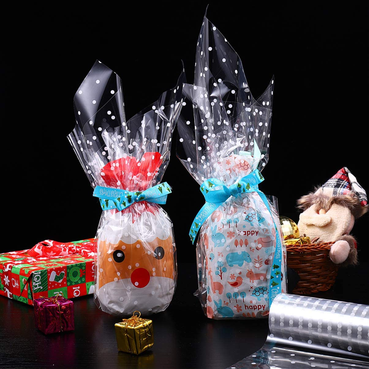 Clear Gift Bags, Cellophane Wrap Roll Wrapper Crystal Long Film Gift Wrappings Packing Paper
