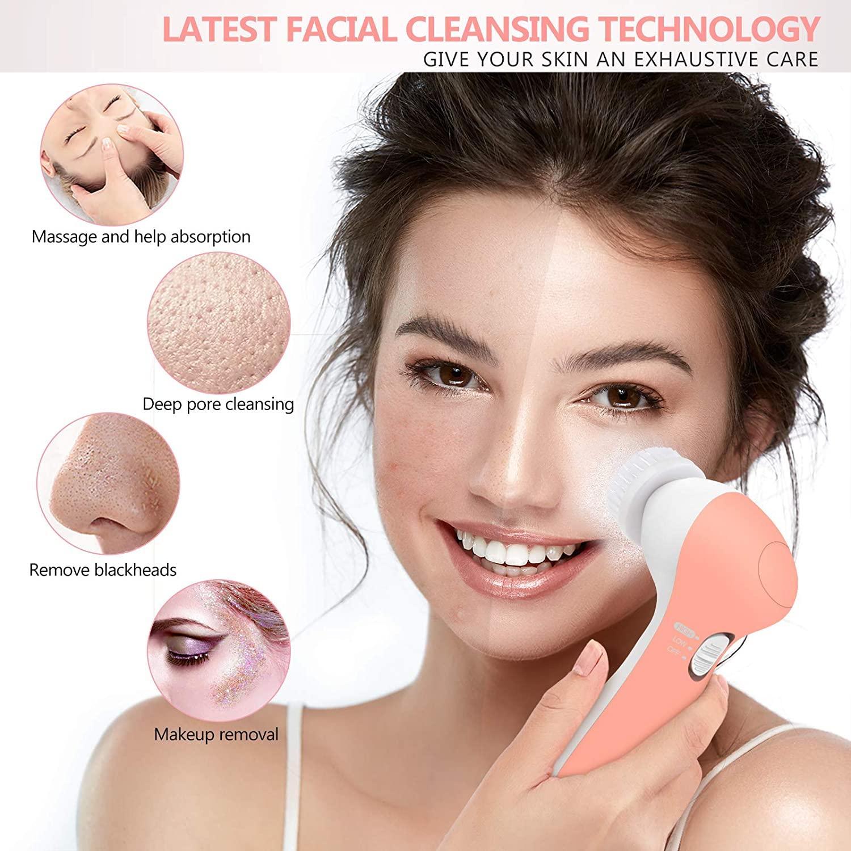 Face Wash Brush, Waterproof Electric Facial Cleansing Brush with 7 Exfoliating Brush Heads (Reddish Orange)