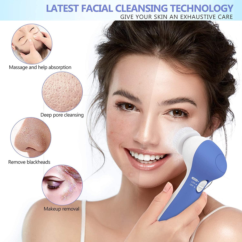 Facial Scrub Brush, Waterproof Facial Cleansing Brush with 7 Exfoliating Brush Heads (Purplish Blue)