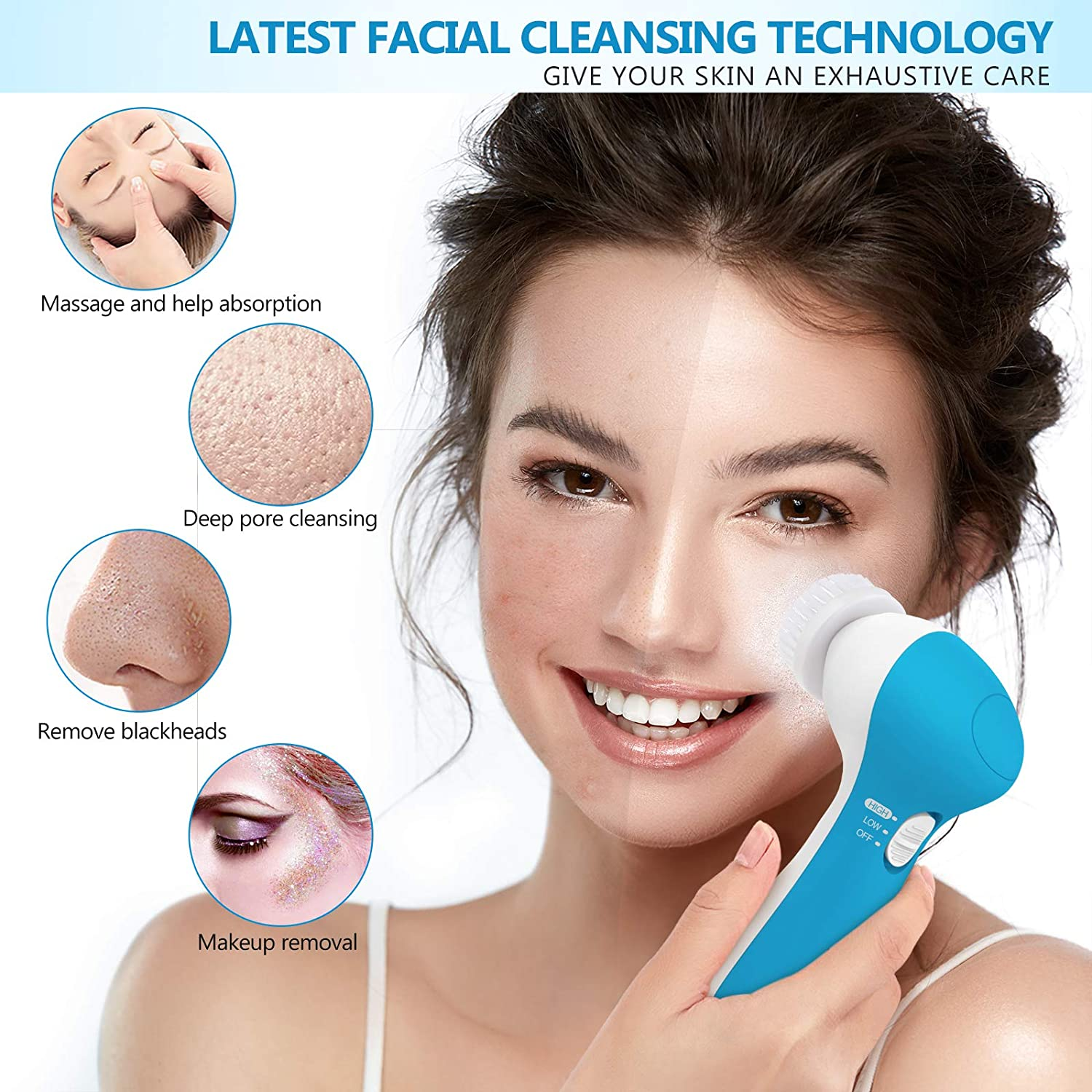 Facial Cleansing Machine, Waterproof Facial Cleansing Brush with 7 Exfoliating Brush Heads (Sky Blue)