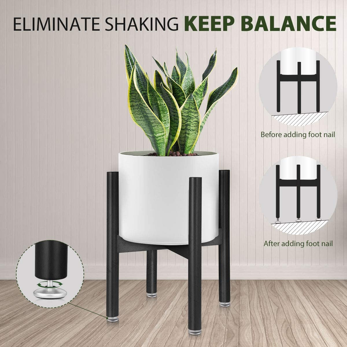 Plant Stands Indoor, Mid Century Plant Holder Flower Pot Stand Bamboo Plant Display Rack (Black)
