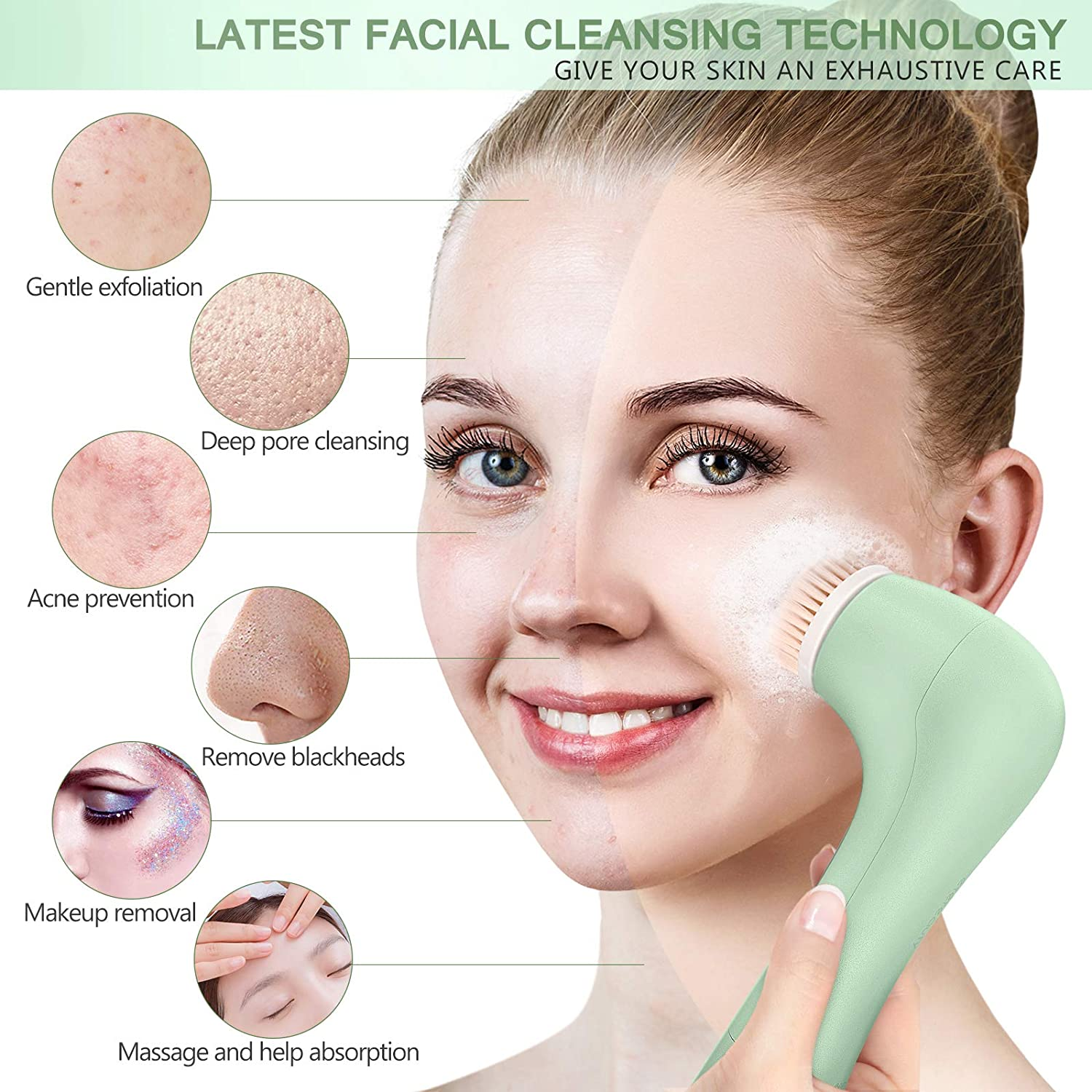 Face Wash Spin Brush, WaterproofFacial Cleansing Brush with 7 Brush Heads for Deep Cleansing (Dark Green)
