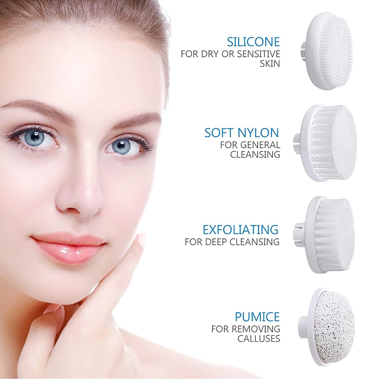Waterproof Facial Massager, Facial Brush Waterproof Facial Cleansing Brush 4-in-1 Set (Grey)