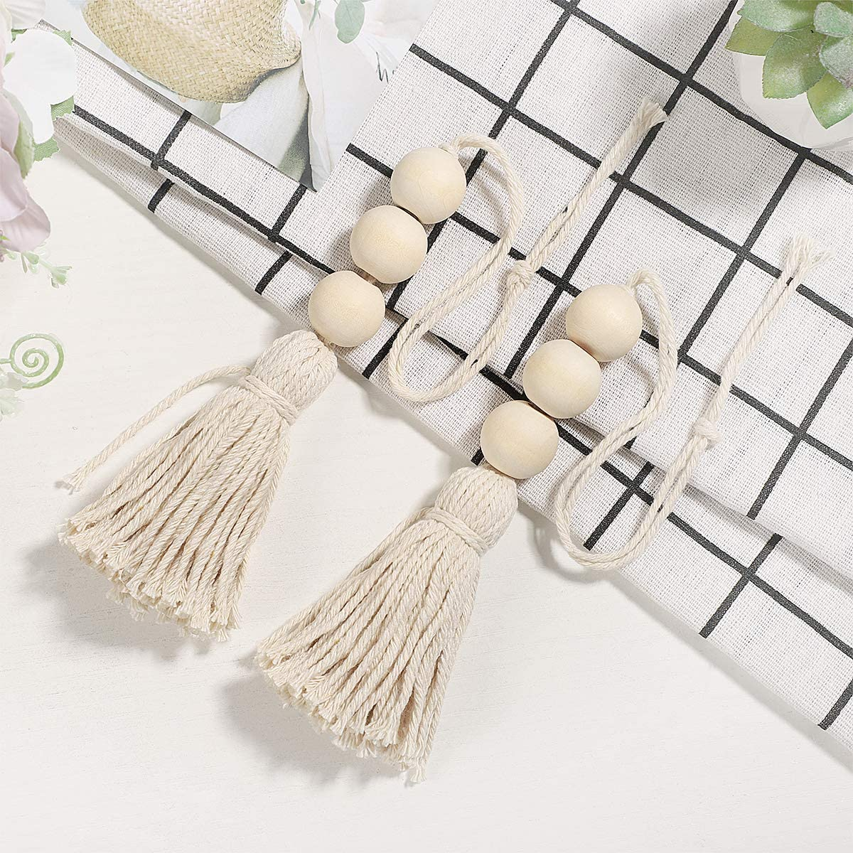 Beads Ornaments, Wood Bead Garland Farmhouse Rustic Beads with Country Tassels Home Decor, 4 pcs
