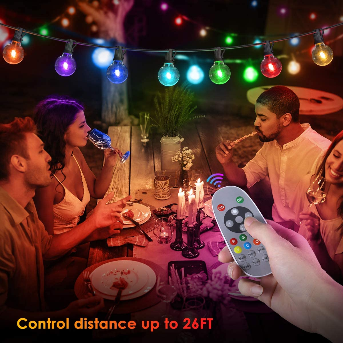 Color Patio String Light, 50FT LED outdoor String Lights with 30+3 G40 Globe Bulbs for Patio, Backyard, Garden