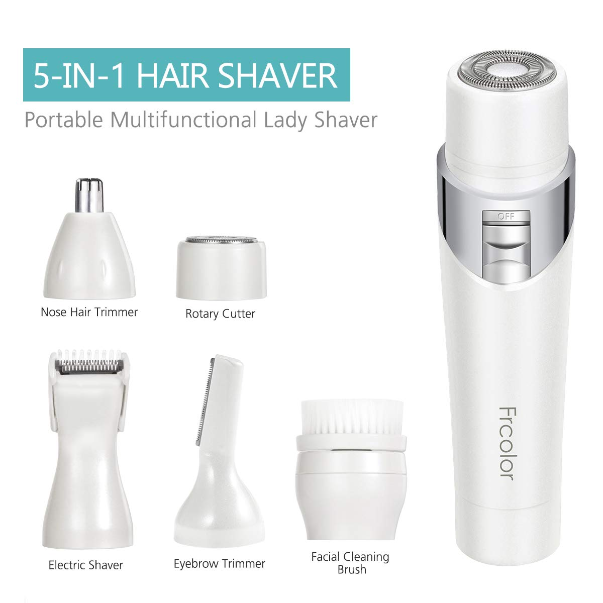 Facial Hair Removal, 5 in 1 Painless Electric Lady Shaver Hair Remover for Face Lip Chin and Cheek Hair
