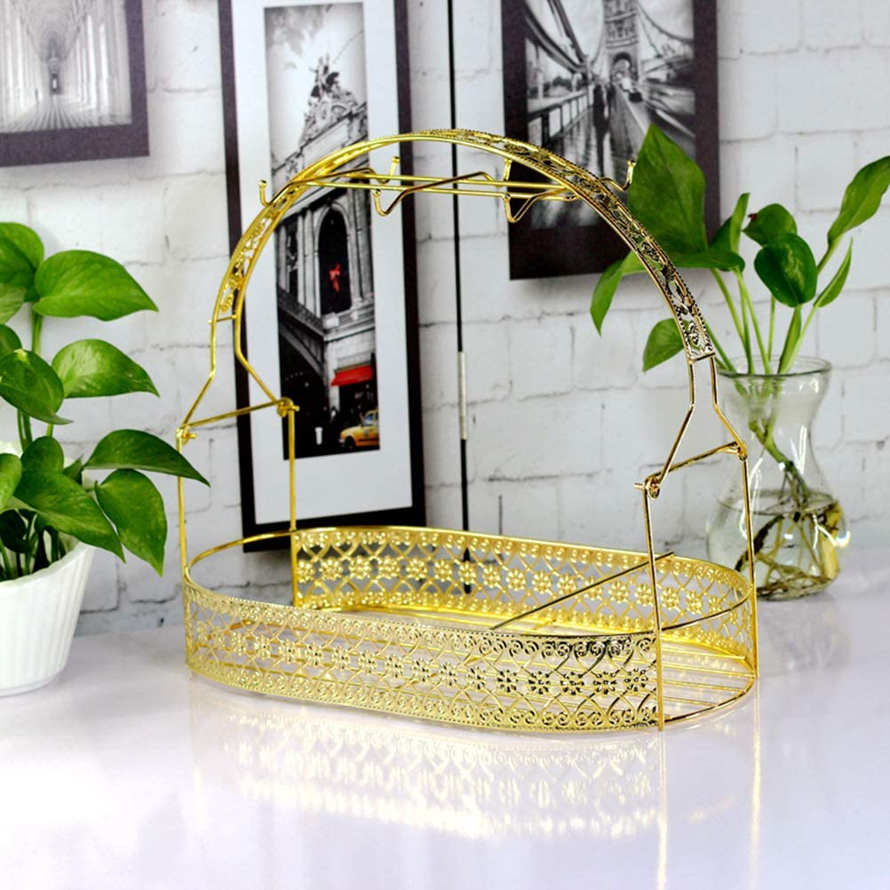 Wrought Iron Coffee Mug Cup Holder Stand Dishes Organizer Rack for Counter Cabinet Table (Golden)