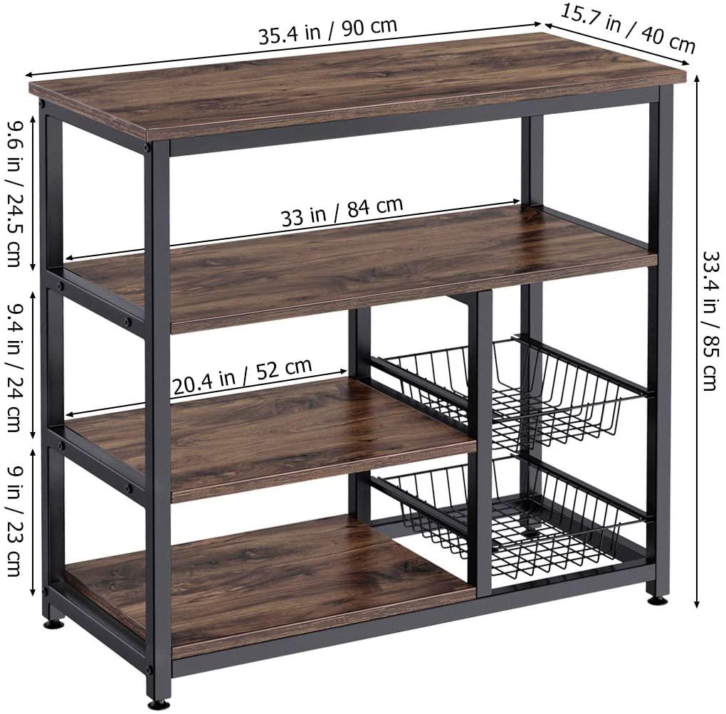 Kitchen Shelf, Storage Stand with 2 Slide-Out Mesh Baskets Spice Rack Organizer Workstation (Rustic Brown)
