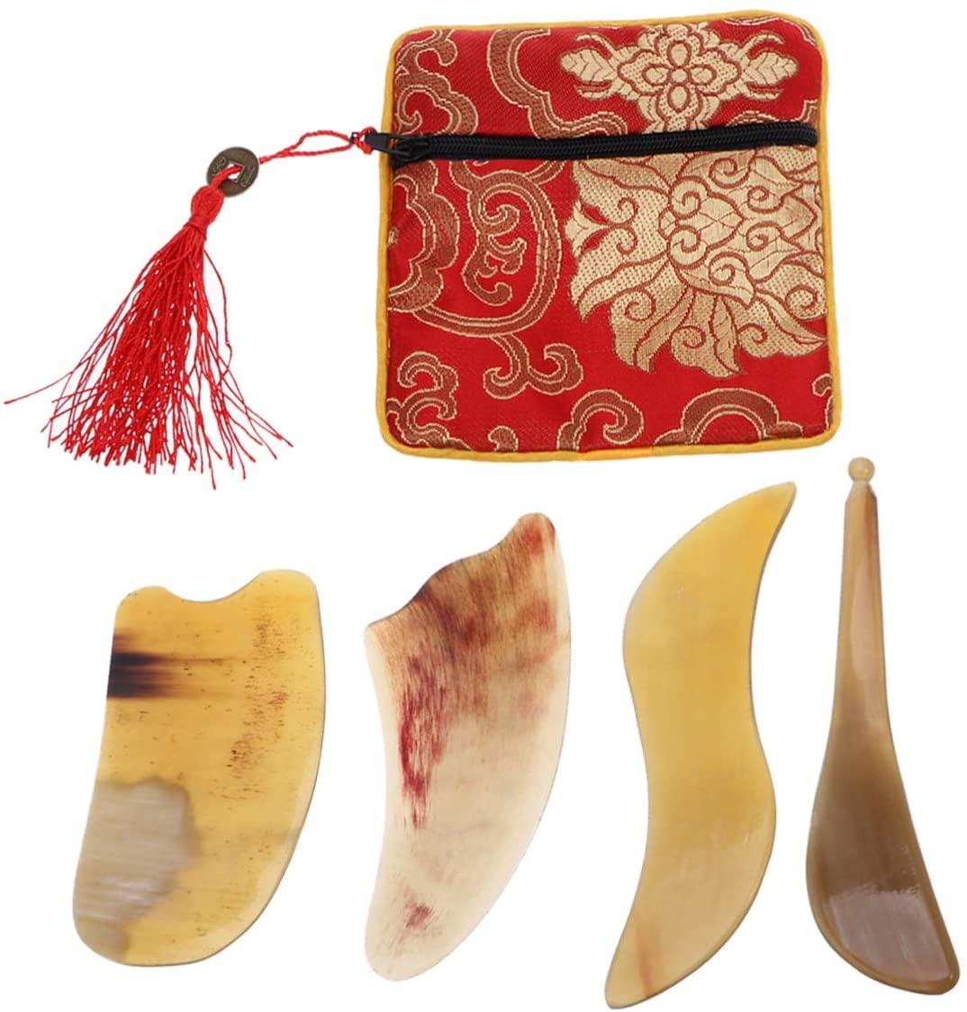 Gua Sha Scraping Board Ox Horn Gua Sha Massage Board for Face Body Massage 4pcs