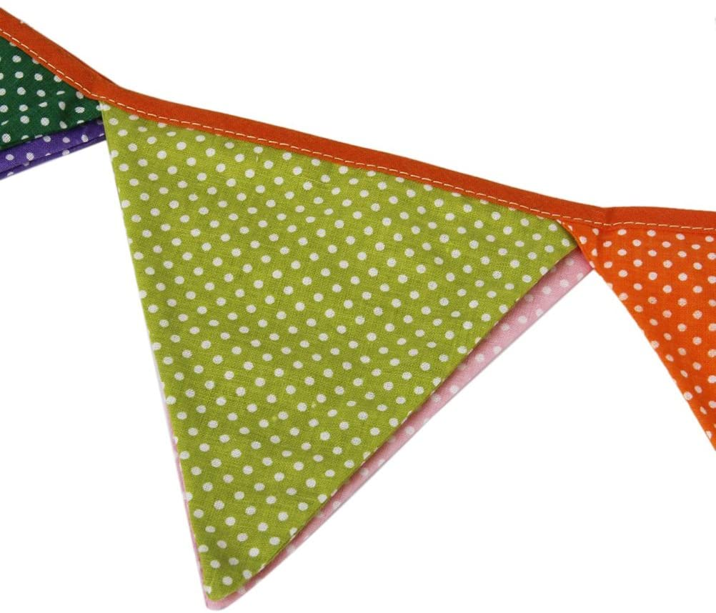 Birthday Banner, Triangle Decoration Banner Flags Party Bunting Banners Polka Dotted 10pcs