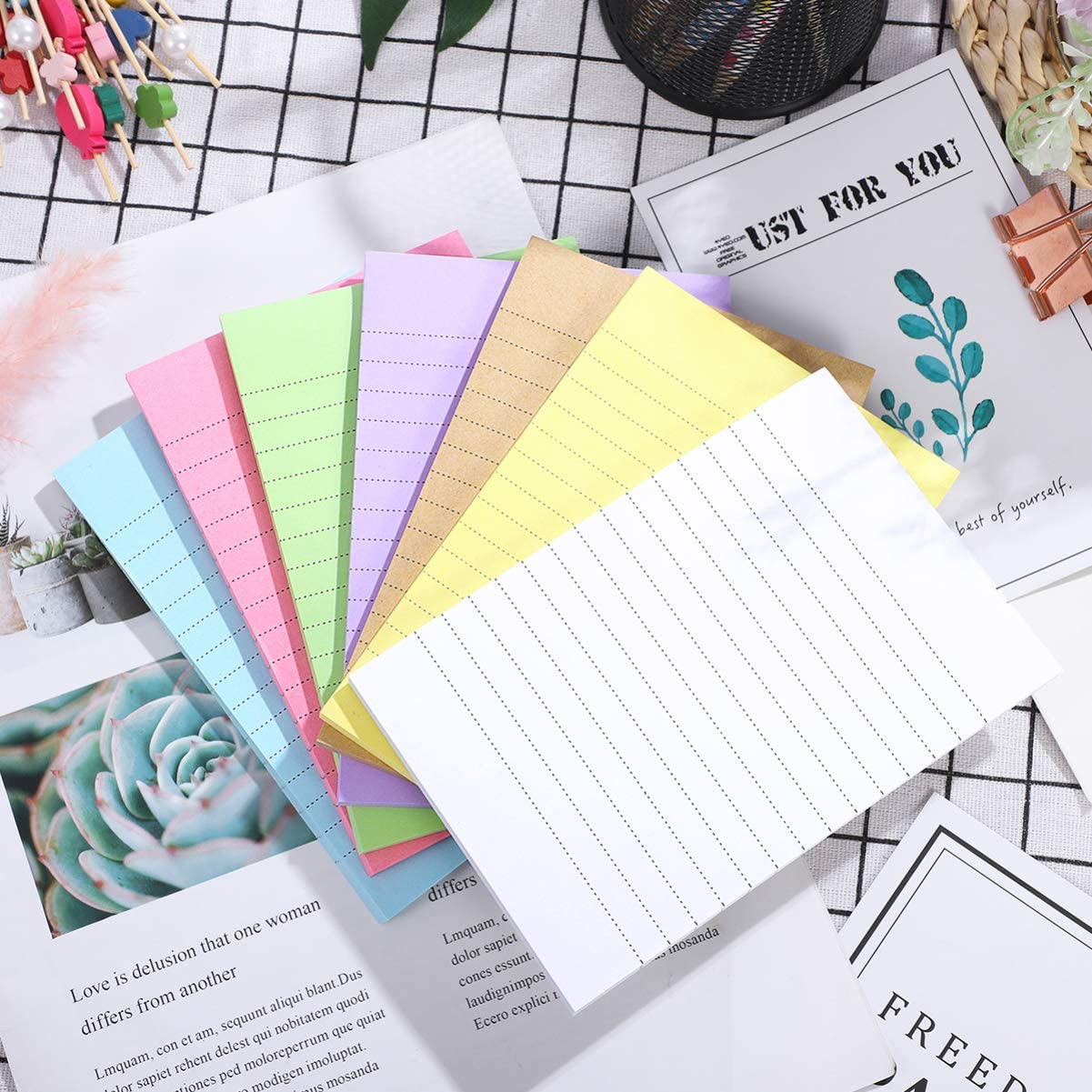 Memo Notepads, Bright Color Self-Stick Lined Sticky Notes with line 50 Sheets per Notepad Memo Stickers 7 Packs