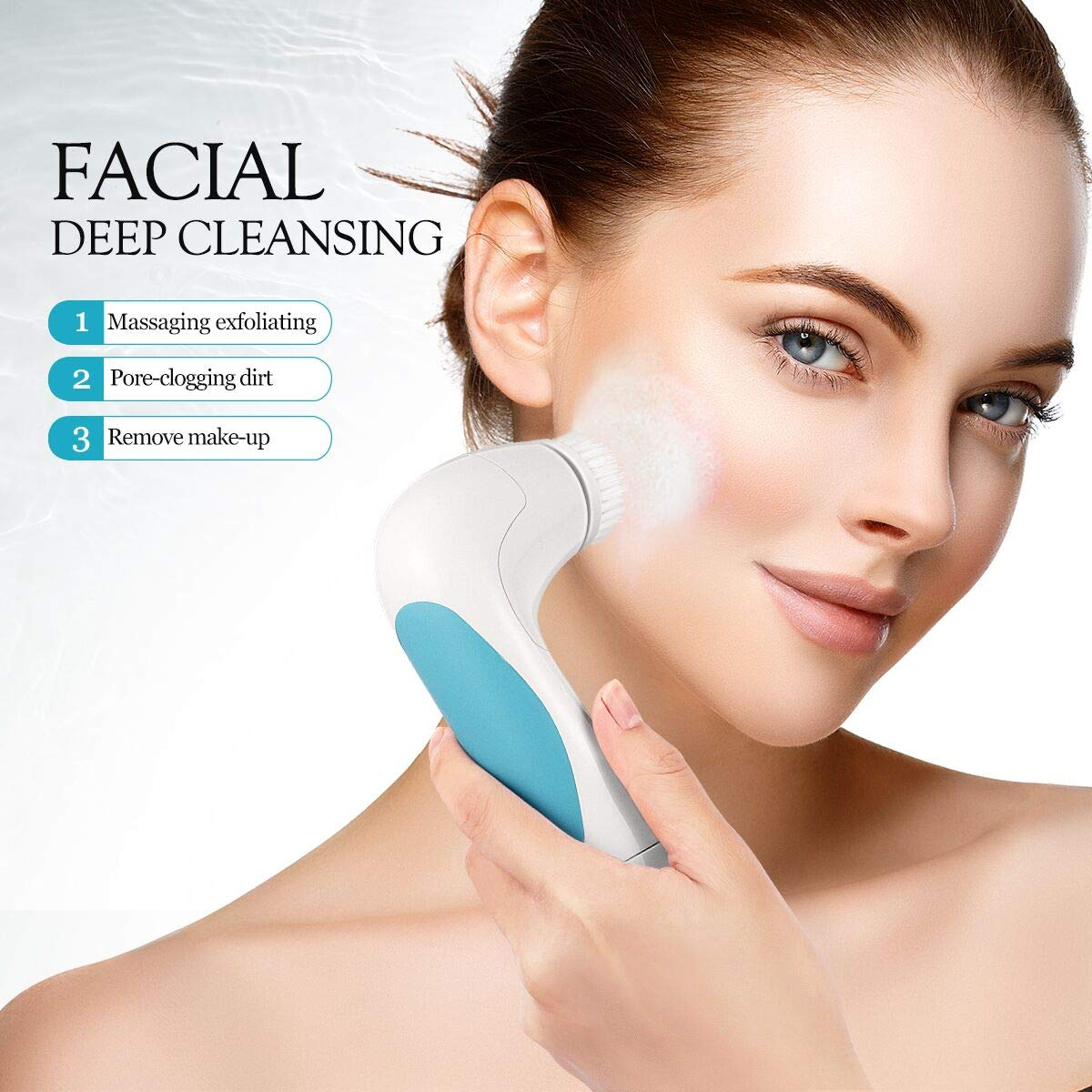 5 in 1 Facial Care Massager Facial Brush Waterproof Body Facial Cleansing Brush Spin Brush (Blue)
