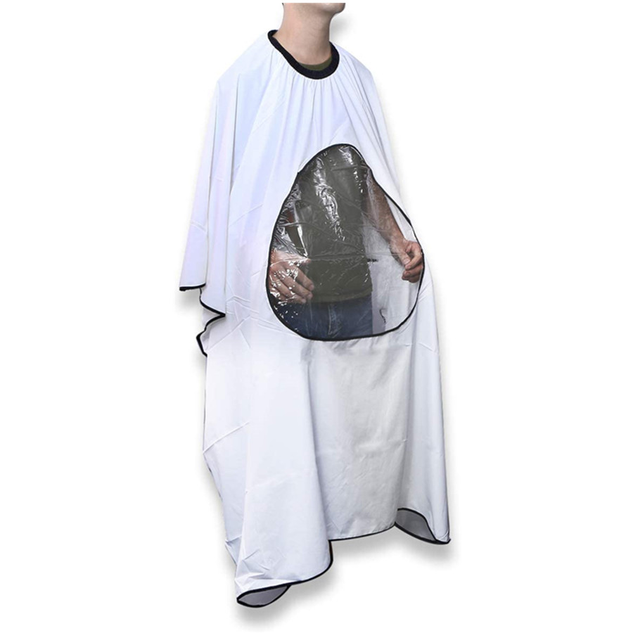 Hair Cutting Cape Hairdressing Cape Salon Home Barbers with Viewing Window for Hair Cutting (White)