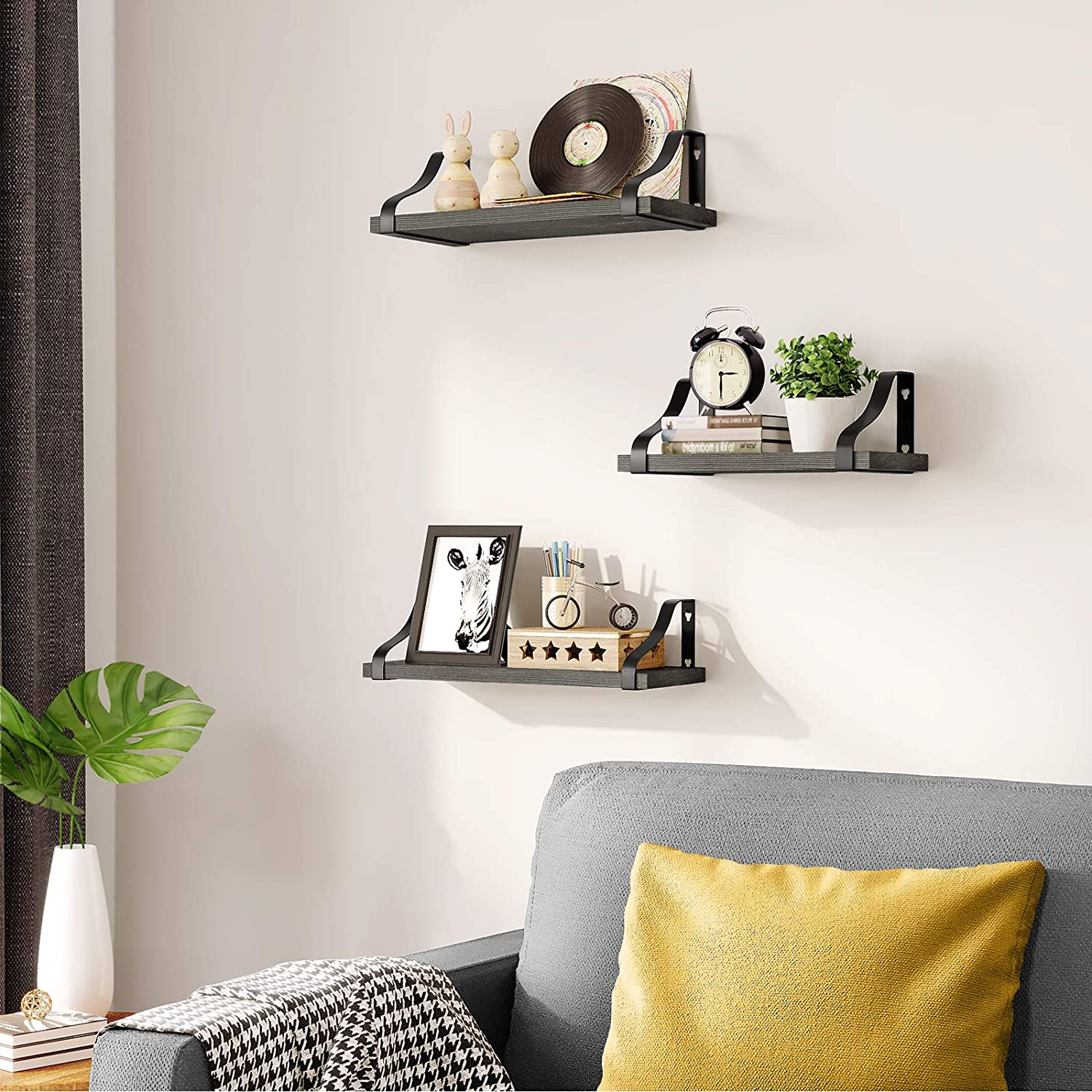 Floating Shelves for Wall, Rustic Solid Wood Floating Wall Shelf Mounted, Set of 3 Wall Hanging Shelves