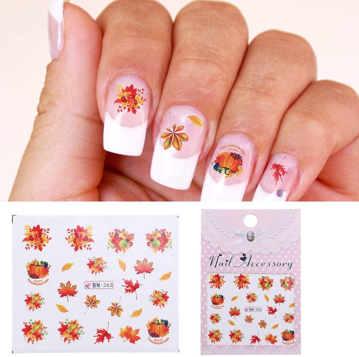 Thanksgiving Nail Art Sticker DIY Nail Polish Stickers 3D Nail Decals Self-Adhesive Tip Stickers, 10 Sheets