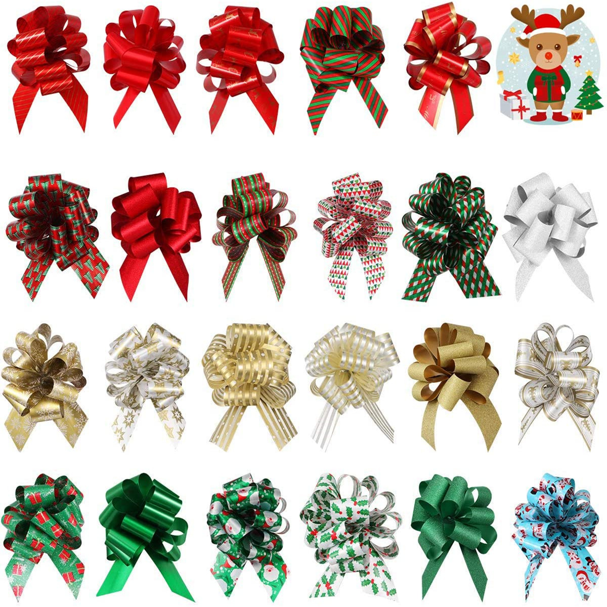 Christmas Tree Bows, Different Patterns Gift Bows Gift Knot Ribbon for Christmas Holiday Decoration 24PCS