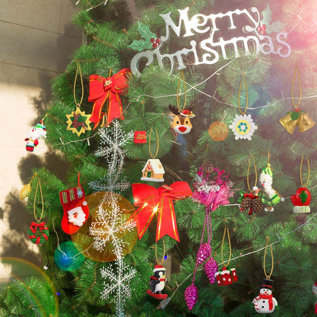 Christmas Animals Relief Toys Xmas Christmas Decorations Hanging Ornaments for Wall Christmas Tree 24Pcs