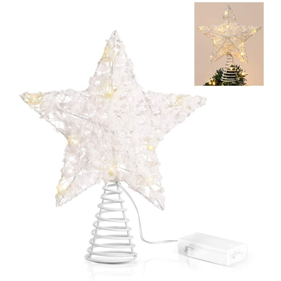 Christmas Star Tree Toppers, White Cotton Balls Metal Hollow Design Star Tree Topper with 15 LED Lights