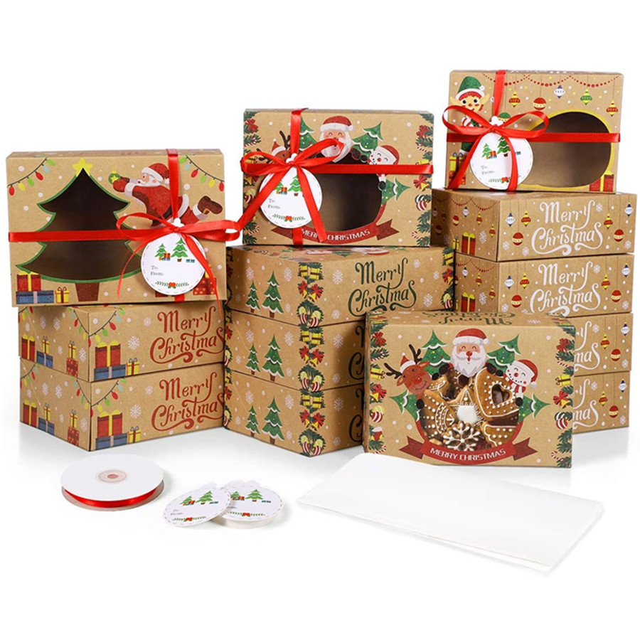 Christmas Gift Boxes, 3 Sizes Kraft Christmas Cupcake Biscuit Holders With Window for Gift-Giving 24Pcs