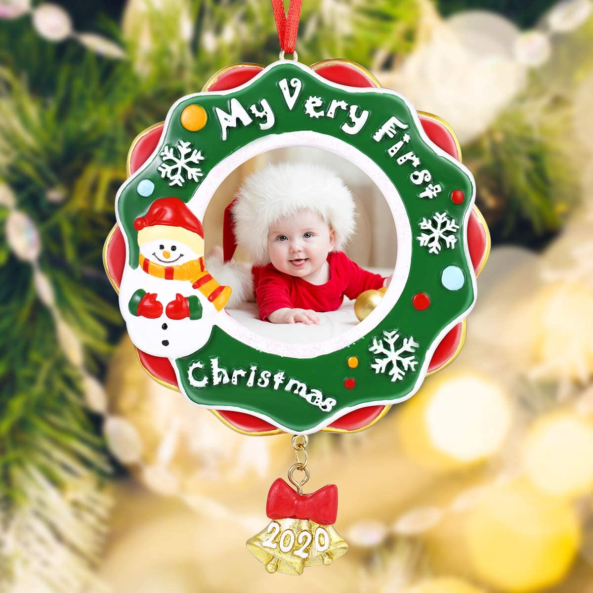Christmas Frame Photo, Christmas Ornament Gifts 2020 My Very First Christmas Picture Photo Frame Plaque