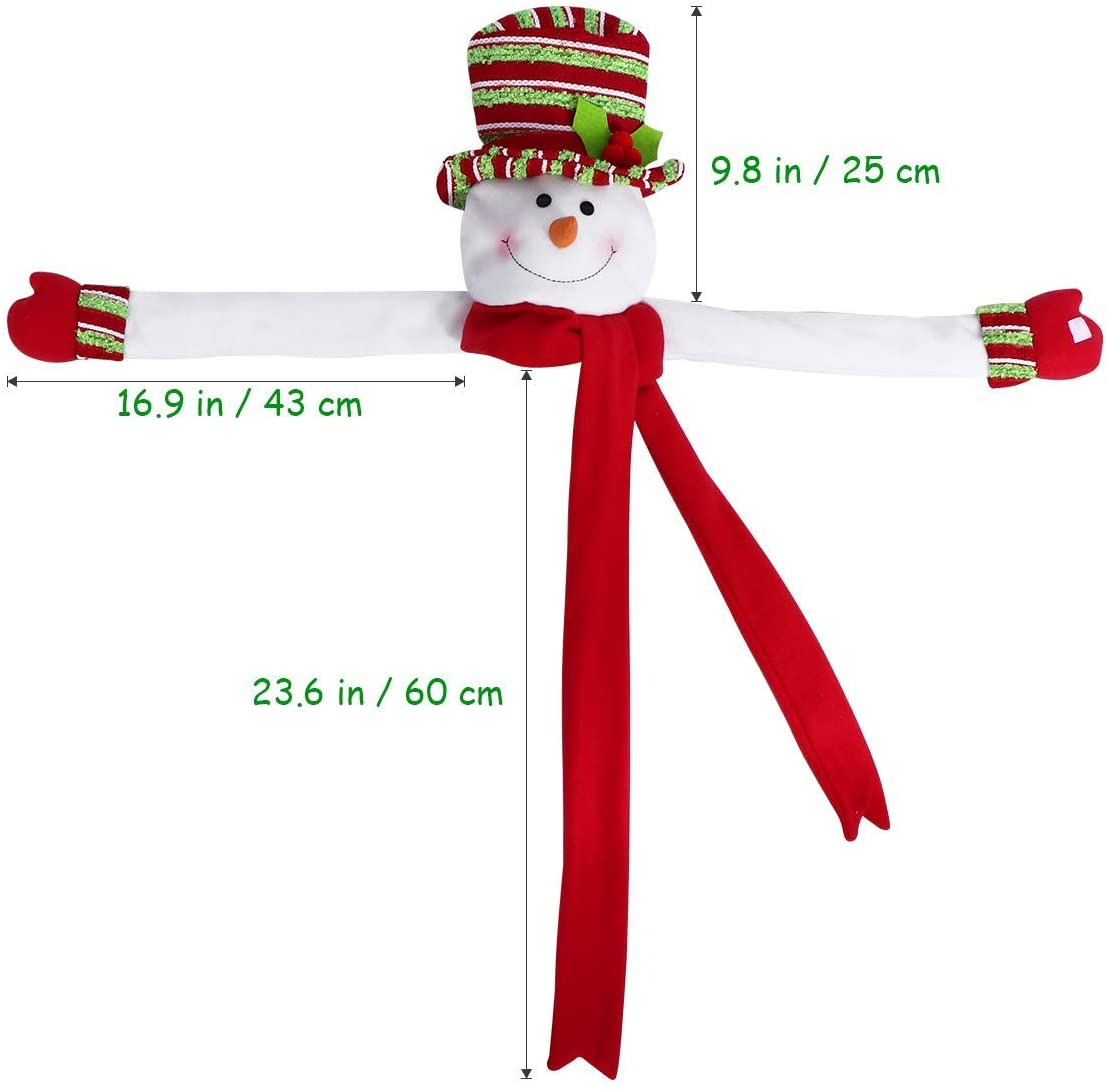 Christmas Snowman Tree Topper Head Hugger for Xmas Holiday Winter Wonderland Party Home Decoration Ornament