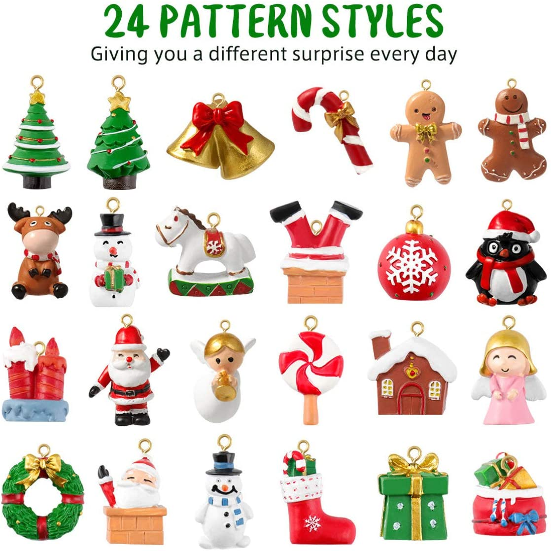 Mini Christmas Ornaments, Christmas Advent Calendar 2020 Ornaments Set of 24 Resin Christmas Tree