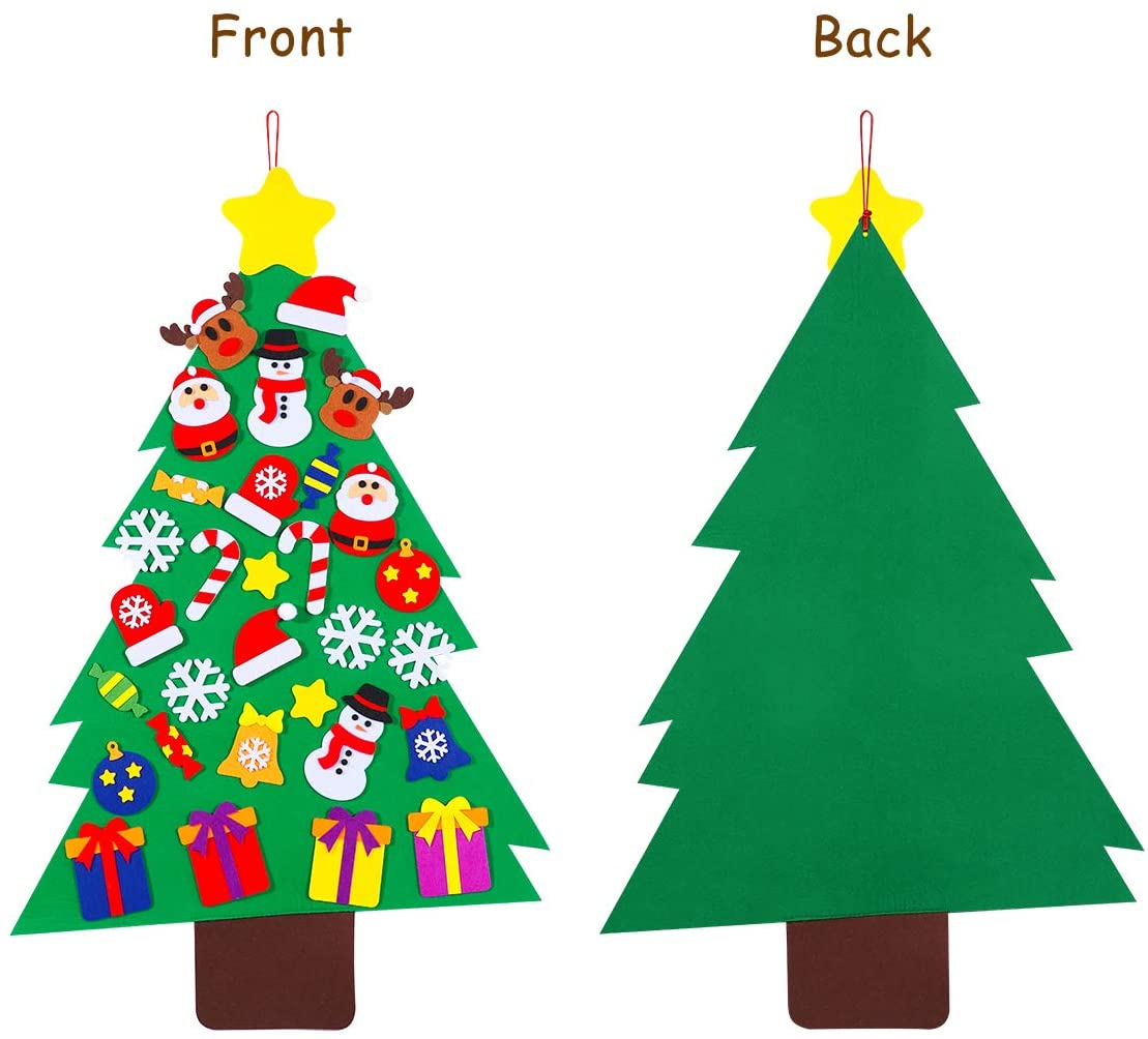 DIY Felt Christmas Tree Set with 31pcs Diy Christmas Ornaments for Kids, Xmas Gifts Wall Hanging Decorations