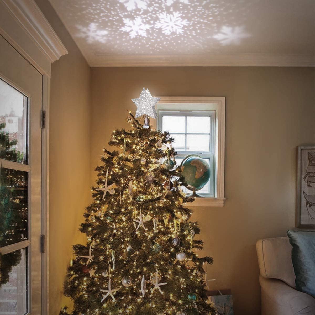 Christmas Tree Topper Star, Unique Lights with LED Snowflake Projector Lights for Christmas Party Decoration