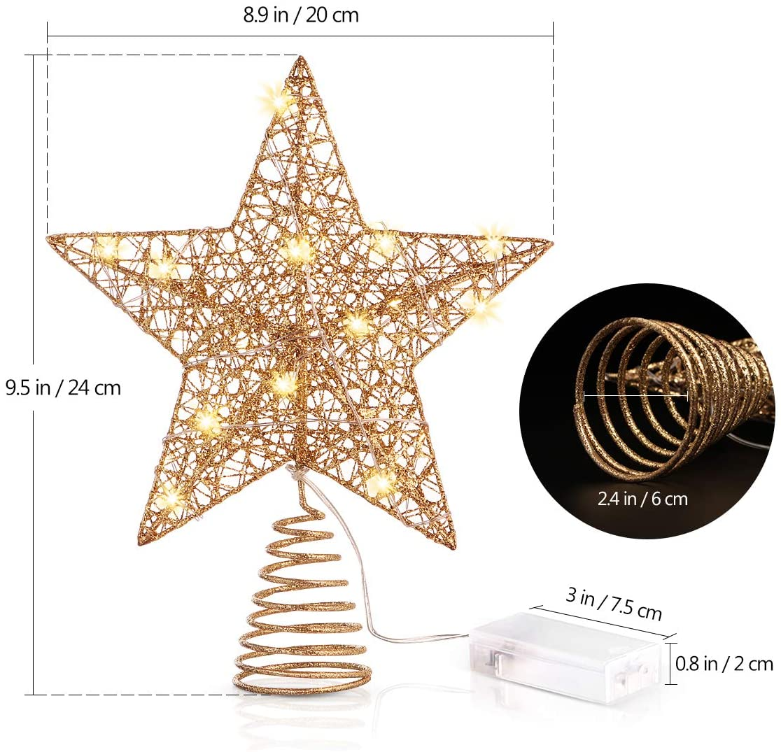 Star Shaped Lamp, Gold Glittered Metal Hollow Design Christmas Star Tree Toppers with LED Lights