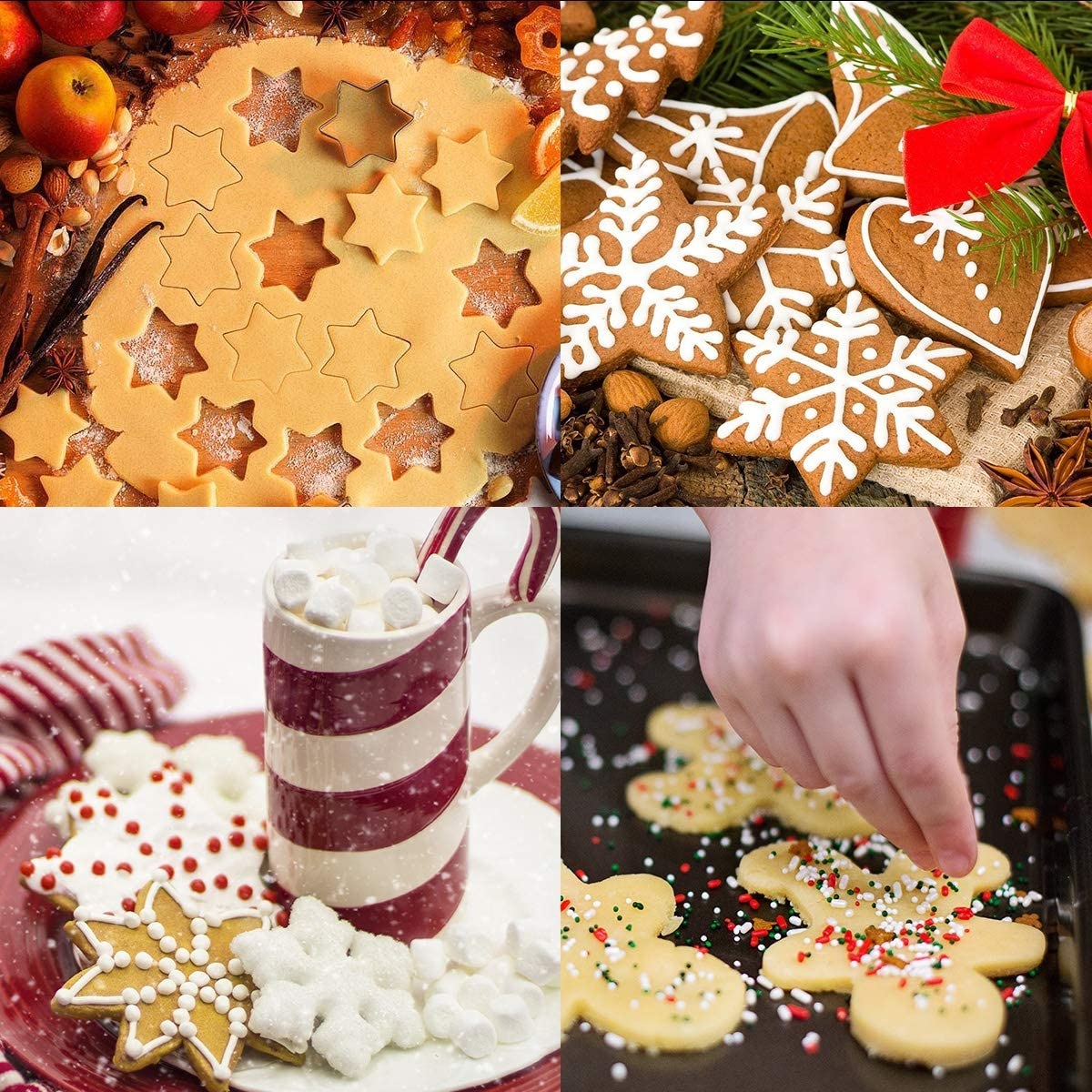 Christmas Cookie Cutters, Stainless Steel Biscuit Mold with Comfort Grip for Christmas Party Baking Gift 12 Pcs