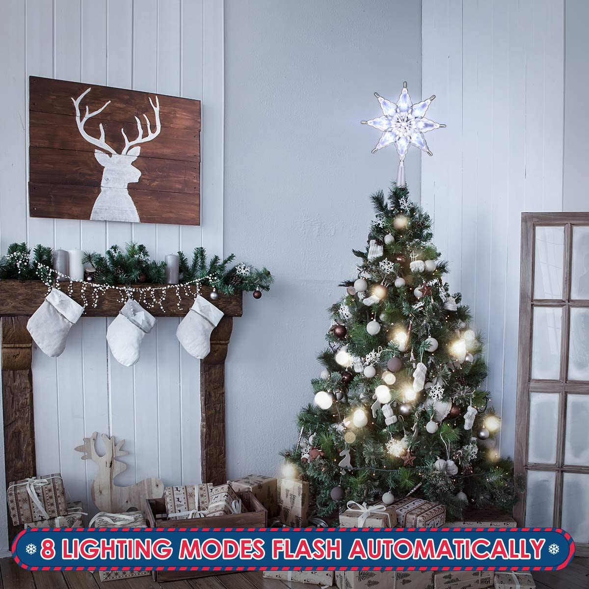 Christmas Treetop Star, Christmas Star Tree Decoration Christmas Silver Tree Ornament for Christmas Decoration