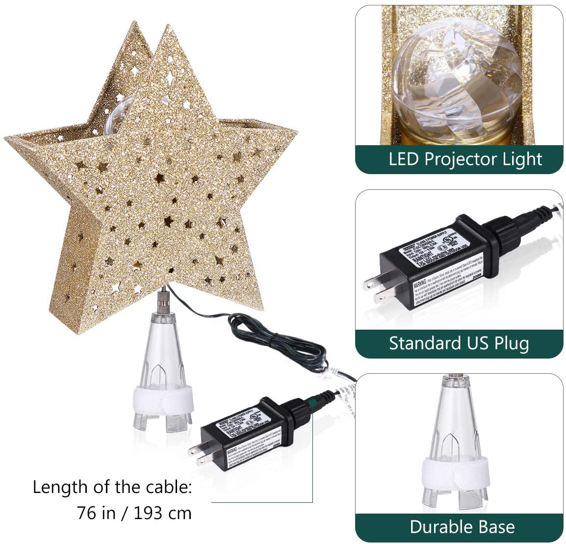 LED Star Lights, Christmas Tree Topper Star Shaped Lamp with Wave Projector for Christmas Holiday Party Decoration
