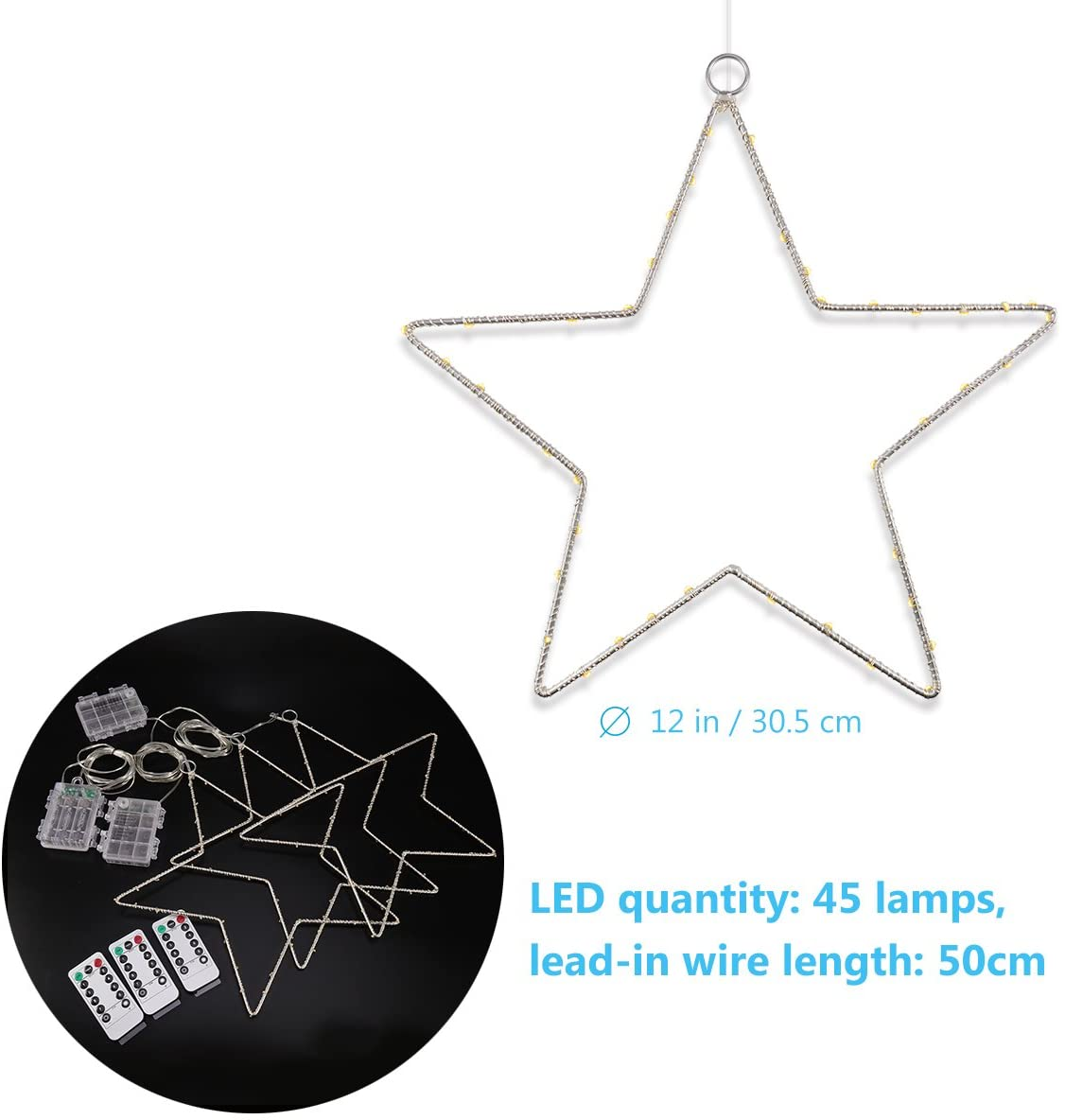 LED String Lights, Window Star Lights Wire Decor Lights Hanging Lights for New Year Home Holiday Party, 3 Pack