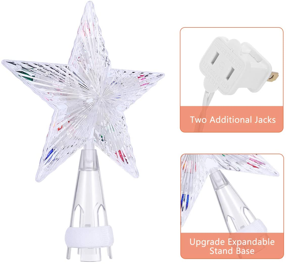 Christmas Tree Toppers Star, LED Light Tree Topper Colorful Christmas Tree Decorations Ornament for Home Festival