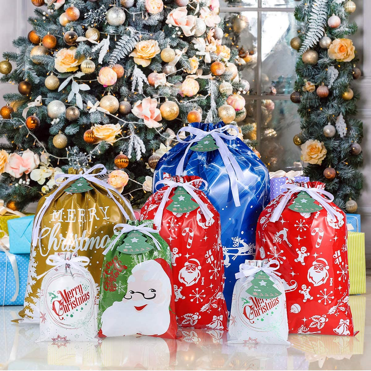 Christmas Gift Bags, Christmas Drawstring Gift Bags Goodie Bags with Gift Tags 36PCS