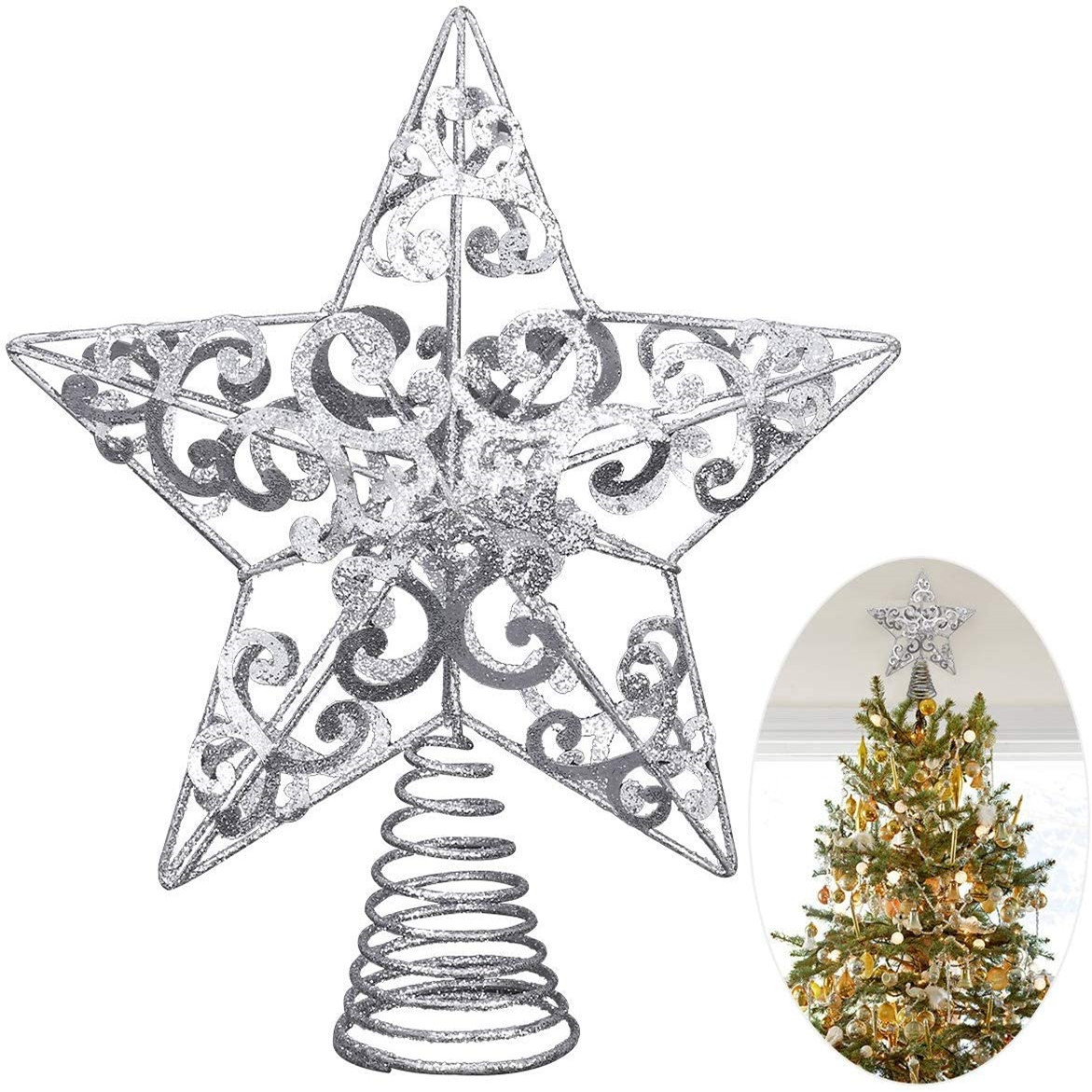 Christmas Tree Decor, Glittered Metal Hollow Star Tree Topper Unique Design Christmas Decoration