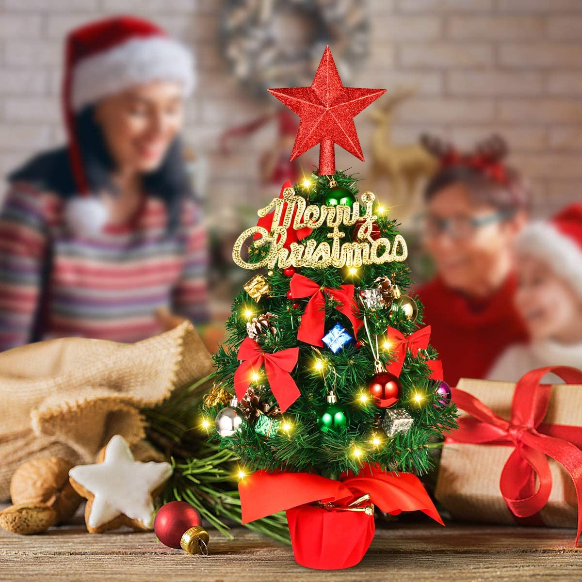 Tabletop Christmas Tree, Artificial Small Christmas Tree with 8 Lighting Modes Christmas Decorations Home Decor