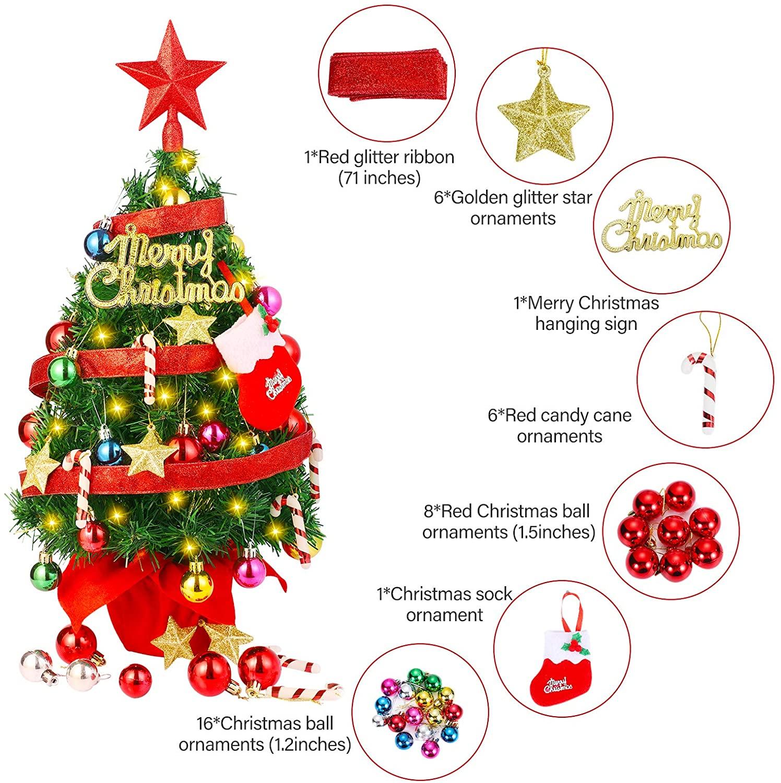 Artificial Christmas Tree, Tabletop Mini Christmas Tree Set with LED Lights Christmas Tree Ornaments