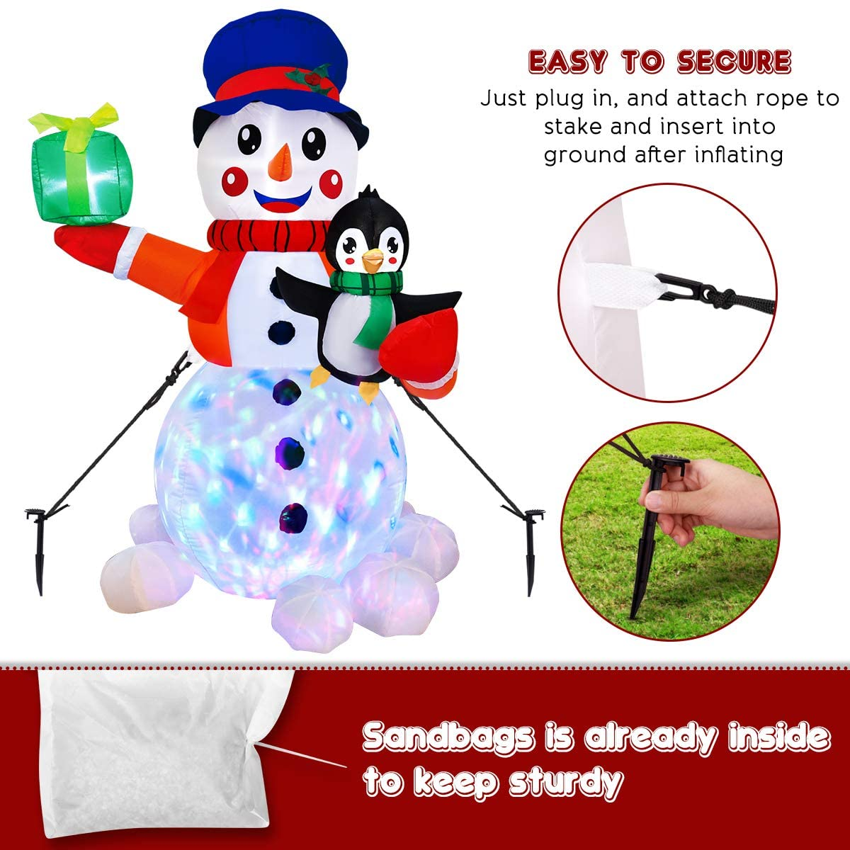 LED Light Inflatable Decor, Christmas Blown Up Snowman with LED Light Ornament for Yard Park Party Decoration