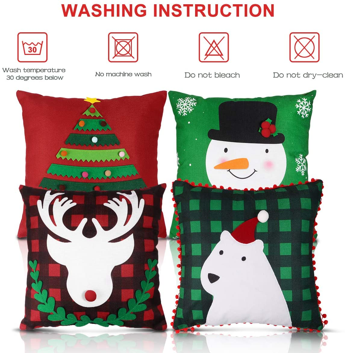 Christmas Pillow Covers, Four Designs Pillow Cases Cushion Covers for Christmas Home Decorations 4PCS