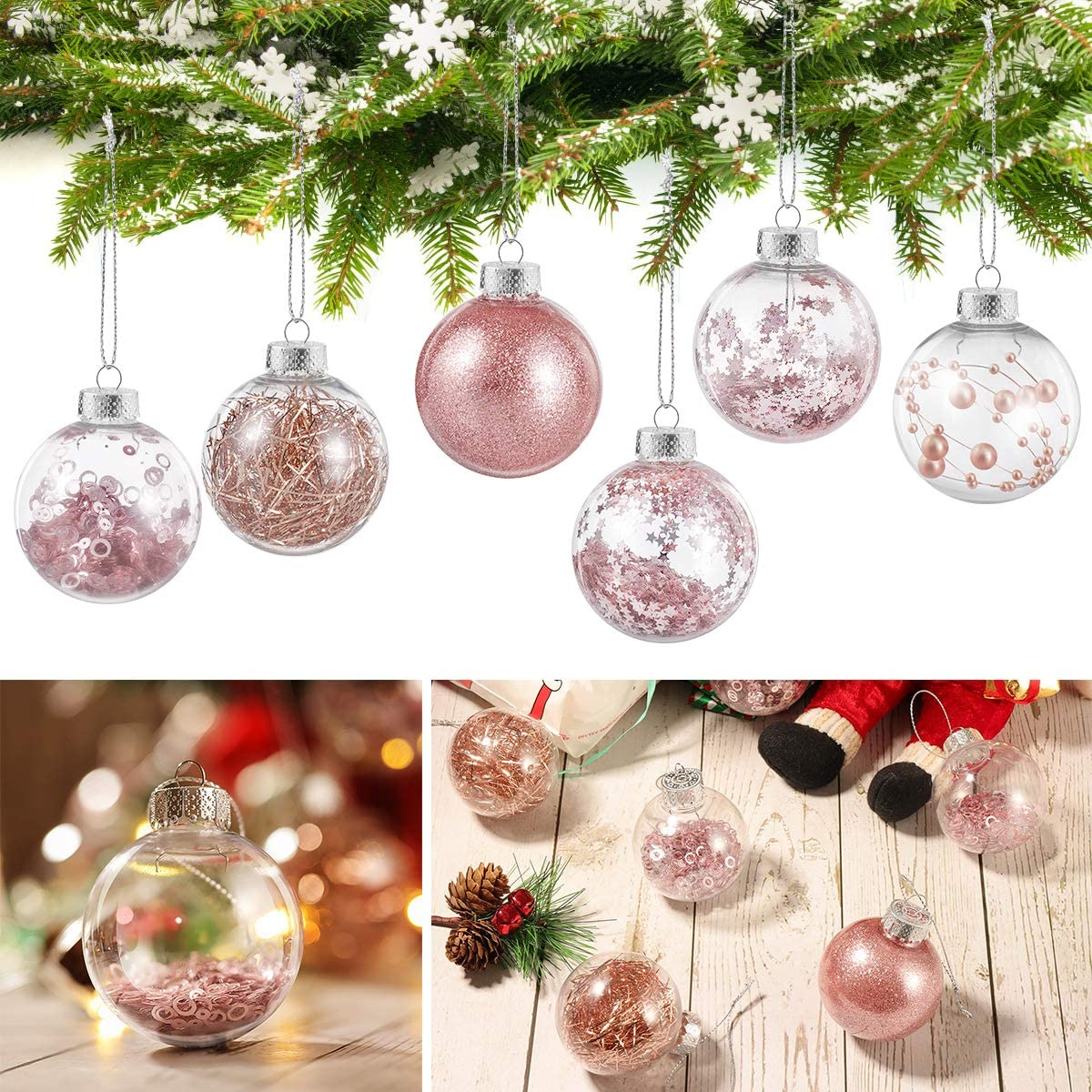 Christmas Ball Ornaments, Assorted Pendant Shatterproof Ball Ornament Set for Christmas Tree Decorations 36 Pack