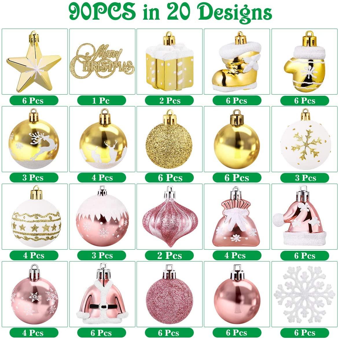 Christmas Hang Balls, Tree Ornaments Assortment for Christmas Tree Decorations Xmas Party Decor