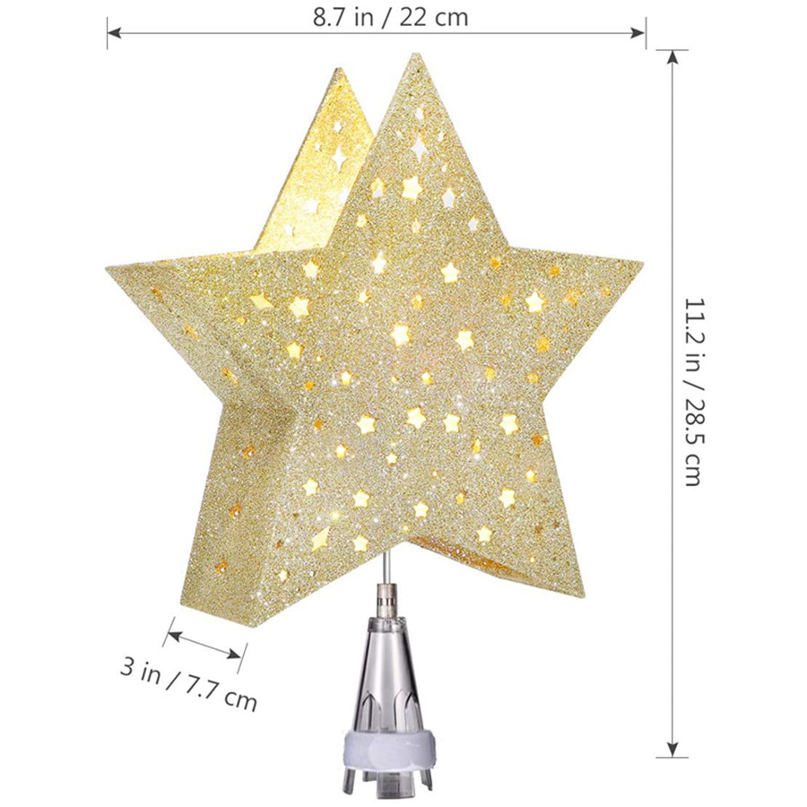 Lighted Christmas Tree Toppers, Star Shaped LED Lights with Rotating Star Projector for Christmas Decoration