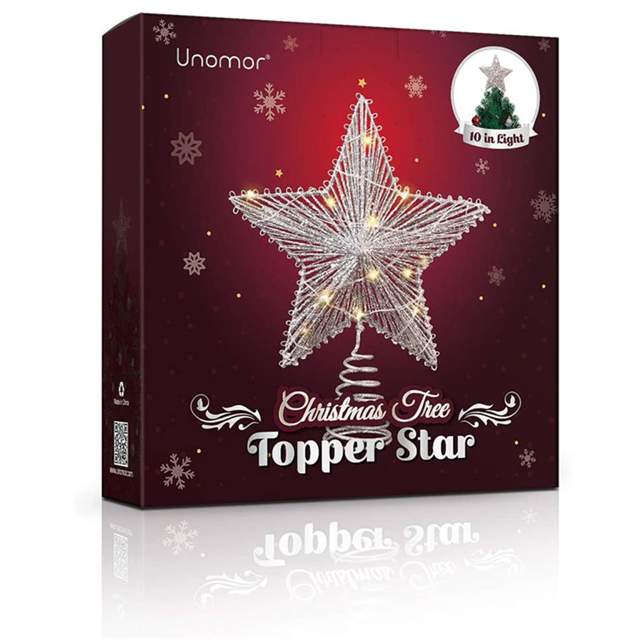 Christmas Tree Top Light, Star Shaped Lamp Christmas Tree Toppers with 15 LED Lights Glitter Metal Hollow Design