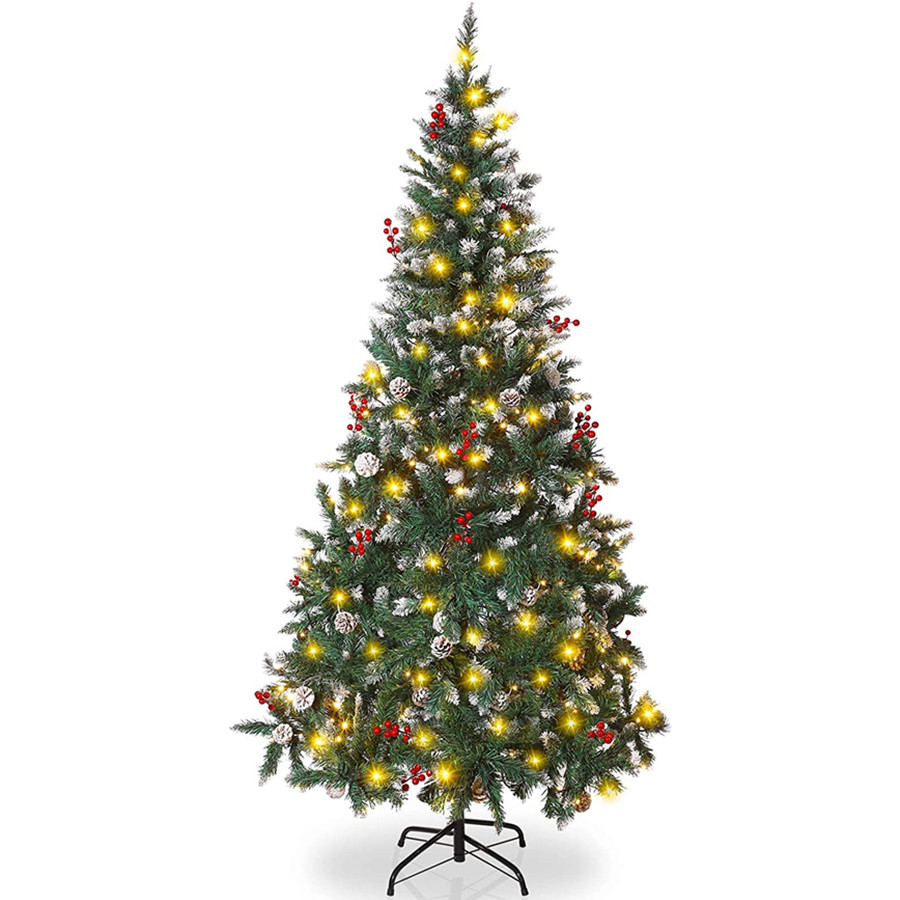 Artificial Christmas Tree, Simulation Snow Flocked Christmas Tree with String Light for Xmas Party Decor