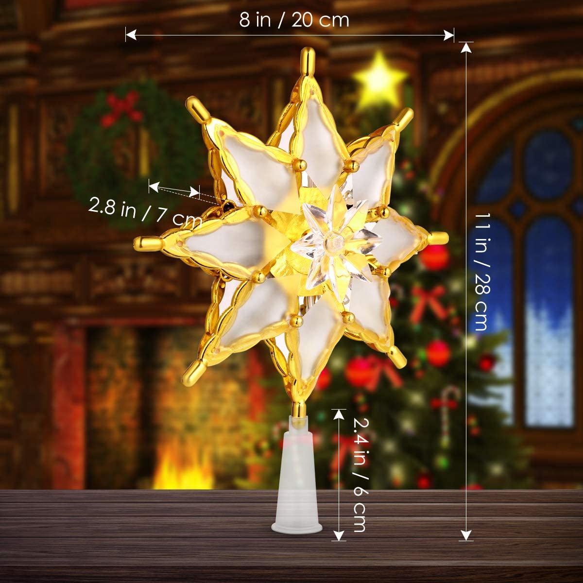 Christmas Tree Topper Star, Gold Hollow Design Lighted Christmas Tree Ornament for Xmas Holiday Party Decoration
