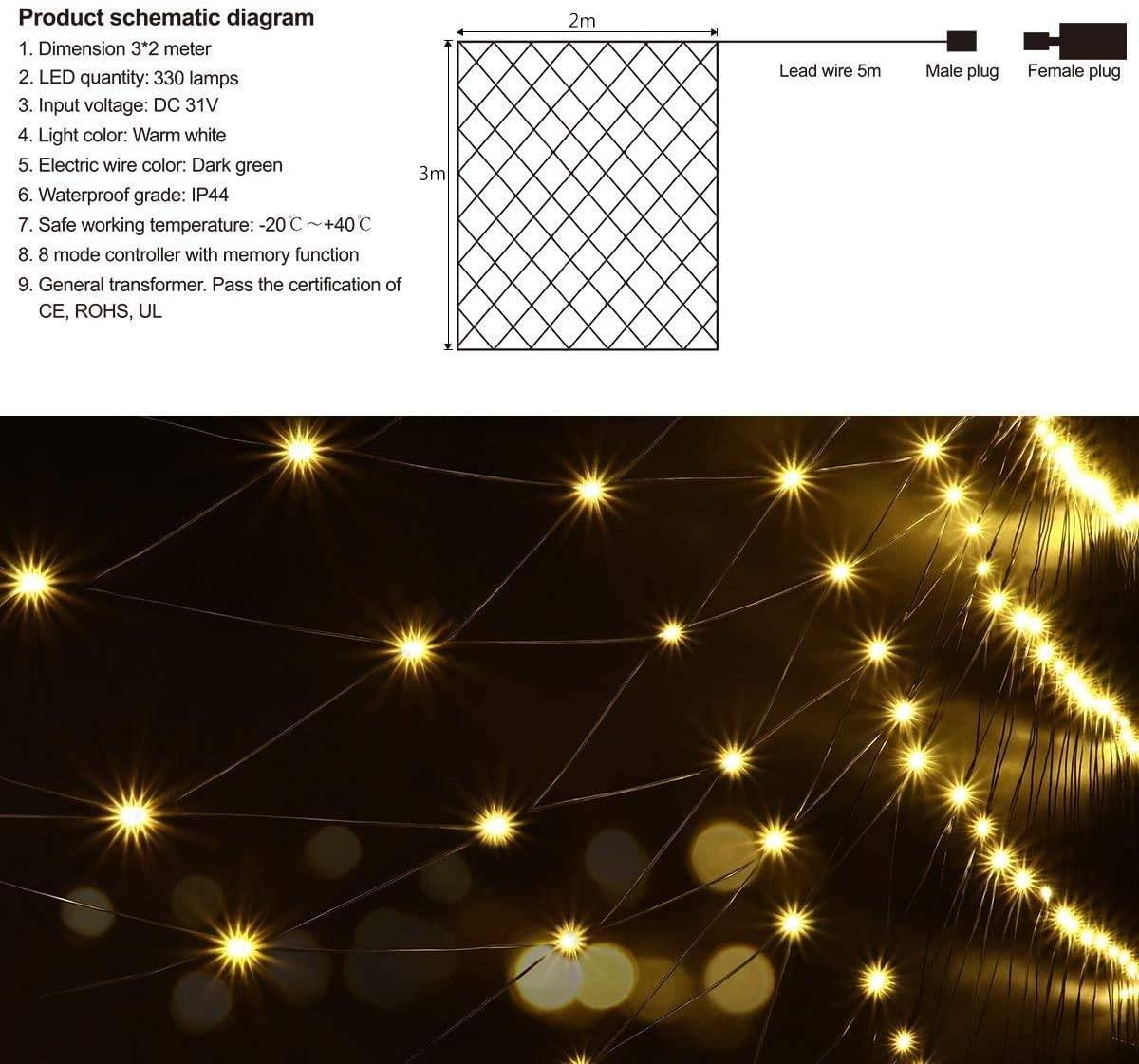 Christmas Net Lights, LED Net Lights Outdoor Christmas Tree Wrap Lights for Christmas Party Decorations