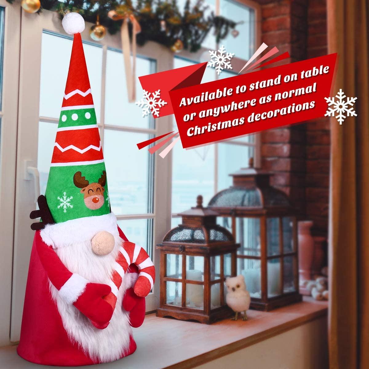 Christmas Gnome Tree Topper, Gnome Christmas Tree Topper Santa Tree Ornament for Holiday Home Decor