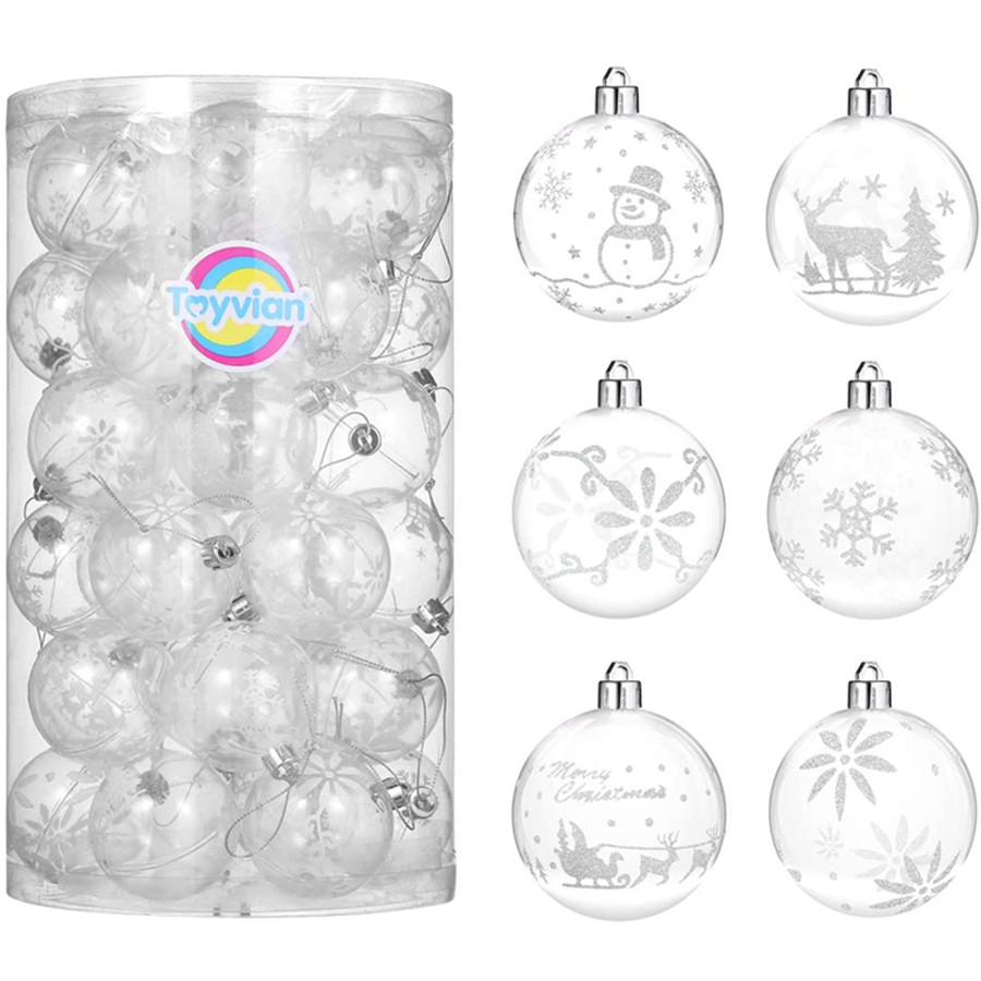 Christmas Ball Ornaments, Plastic Round Ball Ornaments Christmas Hanging Balls Decorations for Holiday Party 36 Pack